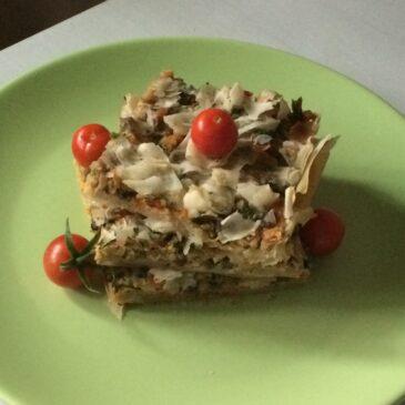 Plăcintă de pui cu ciuperci în foi ciufulite