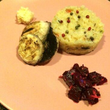 Ciuperci fripte cu piure de ţelină şi cremă de hrean